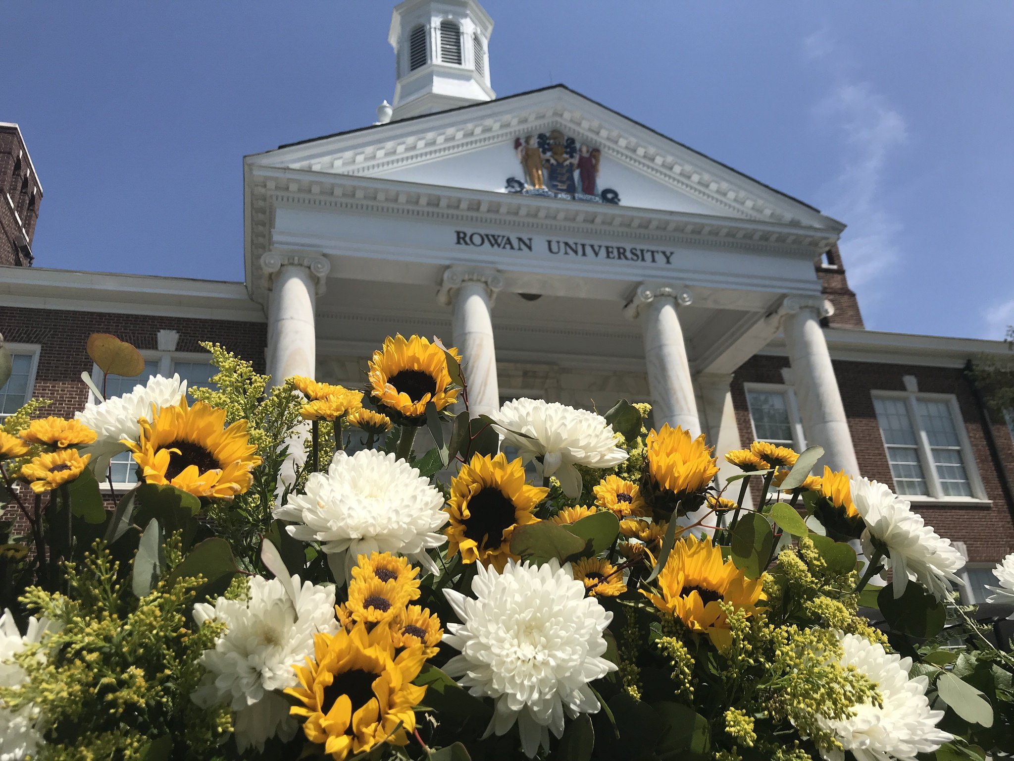sunflowers in front of Bunce Hall